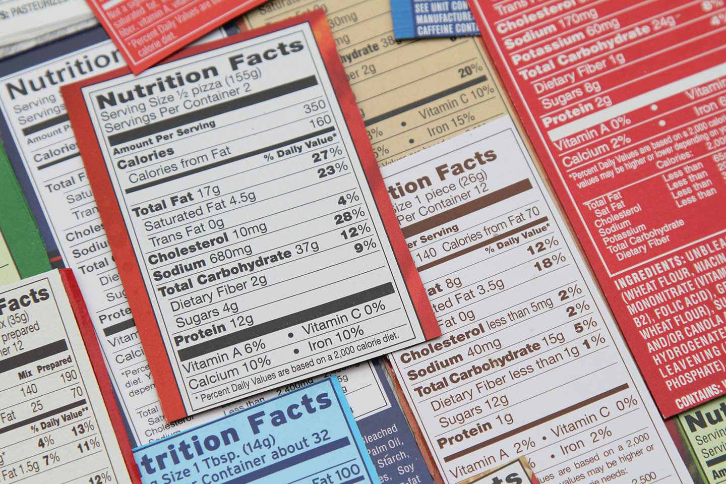 A collection of nutrition labels