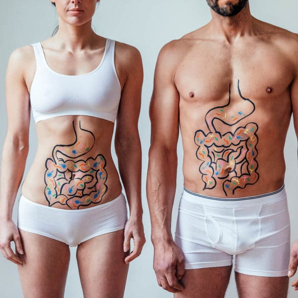 A healthy man and woman in their underwear, with illustrations of their gastrointestinal tract drawn on their stomachs