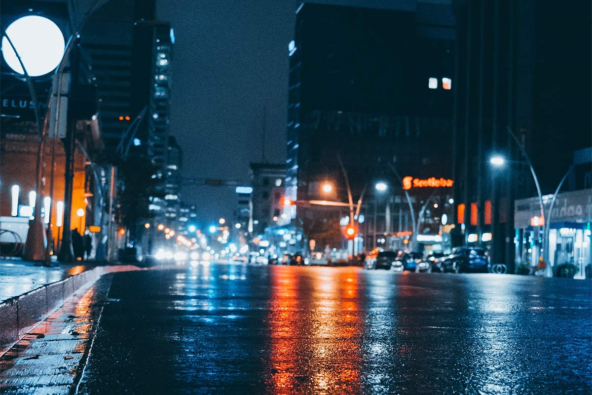 Rain on Jasper Ave, Edmonton, AB