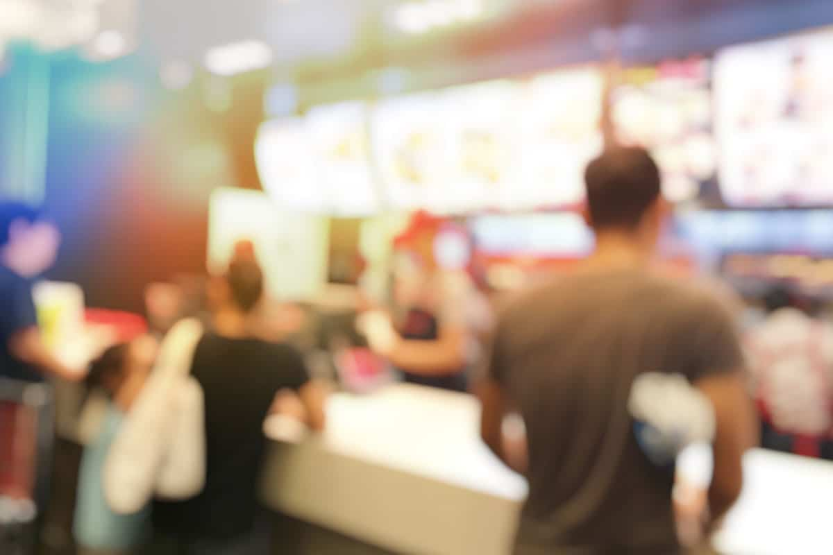 A blurry photo of a fast-food restaurant