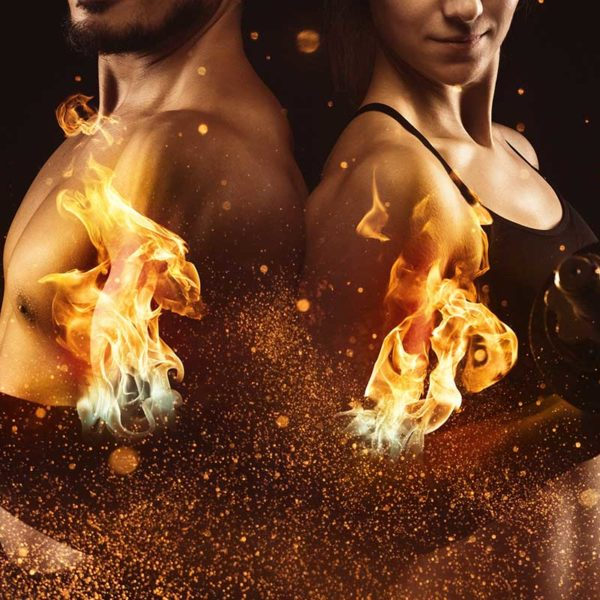 Man and woman back-to-back curling weights. Artistic flames and sparks exploding from their biceps.
