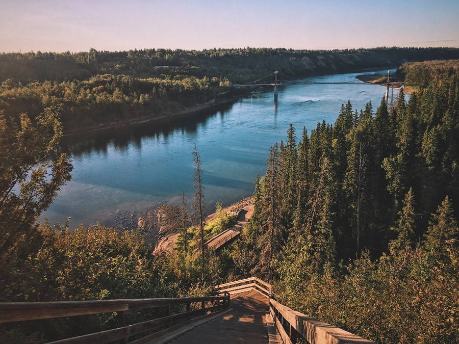 Edmonton's North Saskatchewan River from the top of the stairs in Wolf Willow