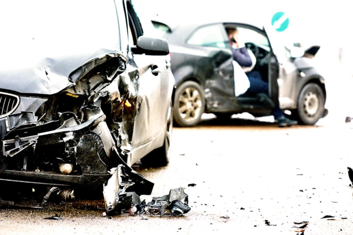 A damaged car as a result of an MVA