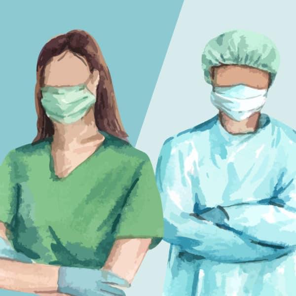 Illustration of two nurses in hospital scrubs.
